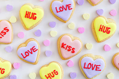 Poster featuring the photograph Conversation Heart Cookie Love by Teri Virbickis
