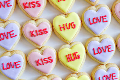 Poster featuring the photograph Conversation Heart Decorated Cookies by Teri Virbickis