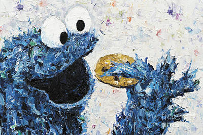 Cookie Monster Inspired Poster by Kay Schleusner