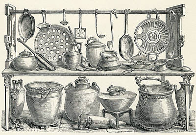 Cooking Utensils Found In Pompeii Poster by Vintage Design Pics
