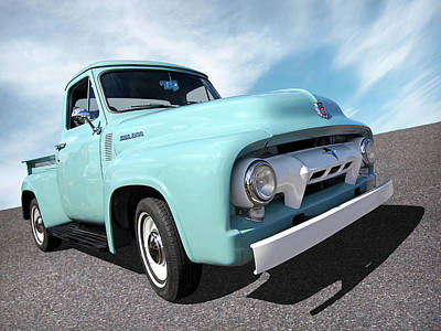 Cool As Ice - 1954 Ford F-100 Glacier Blue Poster