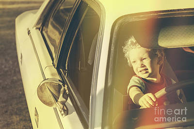Cool Retro Kid Riding In Old Fifties Classic Car Poster