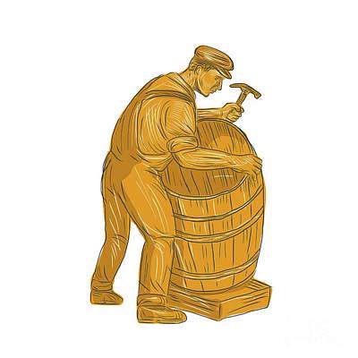Cooper Making Wooden Barrel Drawing Poster by Aloysius Patrimonio