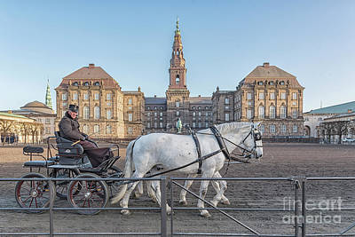 Poster featuring the photograph Copenhagen Christianborg Palace Horse And Cart by Antony McAulay