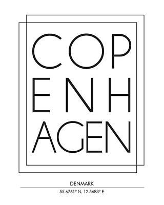 Copenhagen City Print With Coordinates Poster