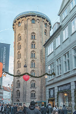 Poster featuring the photograph Copenhagen Round Tower Street View by Antony McAulay