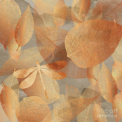 Copper Forest, Leaves And Dragonfly, Nature And Garden Art Poster