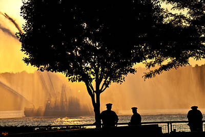 Cops Watch A Fireboat On The Hudson River Poster