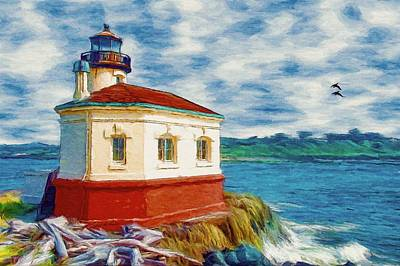 Poster featuring the painting Coquille River Lighthouse by Jeff Kolker