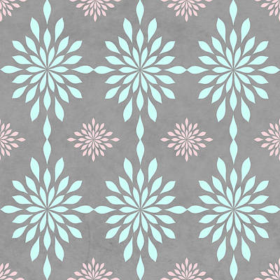 Coral And Turquoise Gray Poster