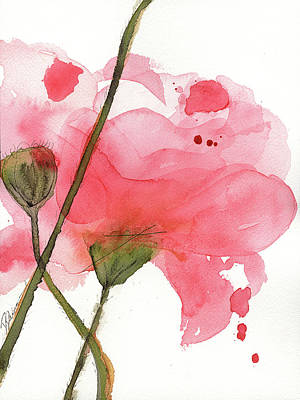 Poster featuring the painting Coral Poppies by Dawn Derman