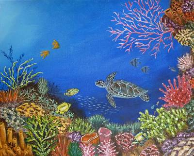 Poster featuring the painting Coral Reef by Amelie Simmons