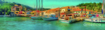 Poster featuring the photograph Corfu 14 - Panorama Of Lakka On Paxos by Leigh Kemp