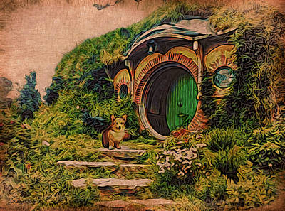 Corgi At Hobbiton Poster by Kathy Kelly