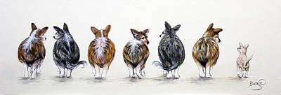 Corgi Butt Lineup With Chihuahua Poster by Patricia Lintner