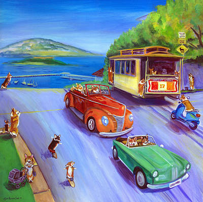 Corgi Trolley On Hyde Street Poster by Lyn Cook