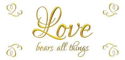 Corinthians Love Bears All Things Poster by Rose Santuci-Sofranko