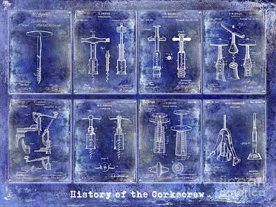Corkscrew Patent History Blue Poster
