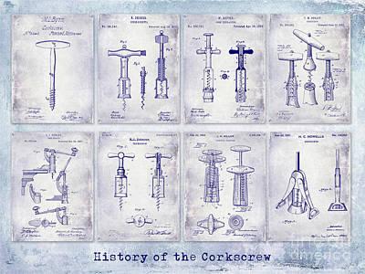 Corkscrew Patent History Blueprint Poster by Jon Neidert