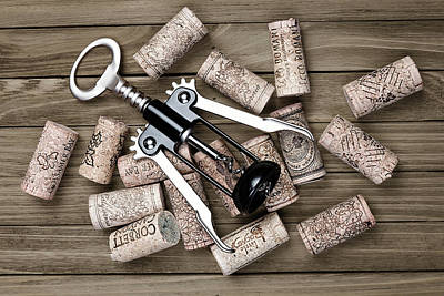 Corkscrew With Wine Corks Poster