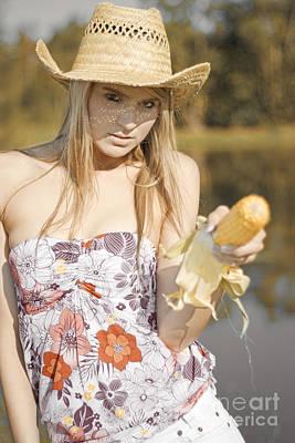 Corn Cob Cowgirl Poster