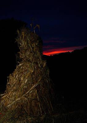 Corn Shock At Setting Sun Poster by Douglas Barnett