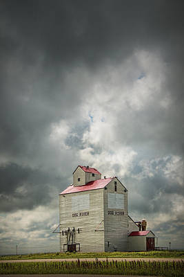 Corner Gas Grain Elevator In Dog River Poster by Randall Nyhof
