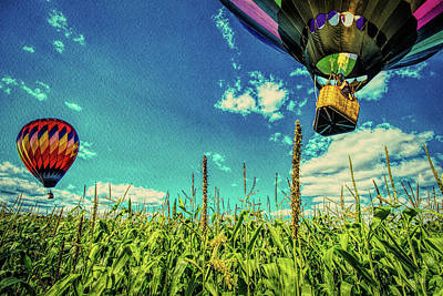 Cornfield View Hot Air Balloons Poster