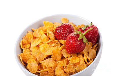 Cornflakes And Three Fresh Strawberries In Bowl  Poster