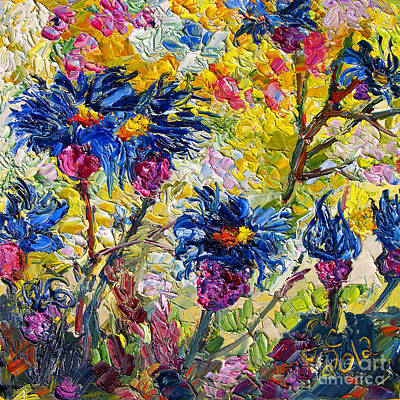 Poster featuring the painting Cornflowers Impressionist Oil Painting by Ginette Callaway
