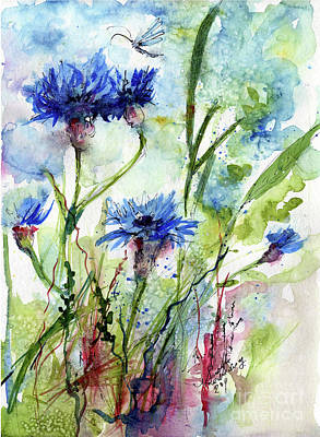 Cornflowers Korn Blumen Watercolor Painting Poster