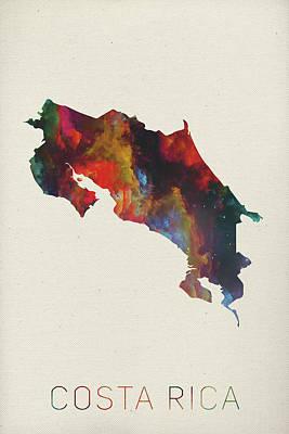 Costa Rica Watercolor Map Poster