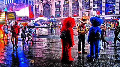 Costumed Characters In Times Square Poster