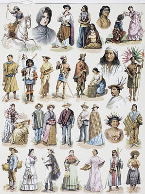 Costumes From All Over The South Poster by Vintage Design Pics