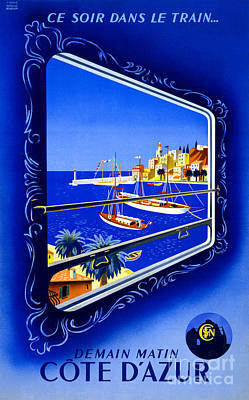 Cote D'azur Vintage Poster Restored Poster