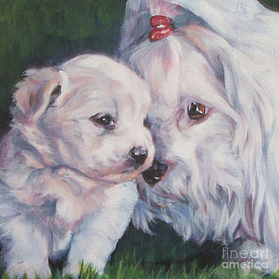 Coton De Tulear With Pup Poster by Lee Ann Shepard