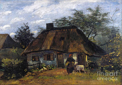 Cottage And Woman With Goat - Farmhouse In Nuenen  Poster by Van Gogh