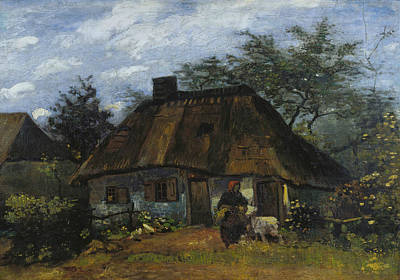 Cottage And Woman With Goat Poster