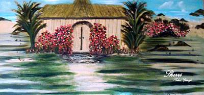 Poster featuring the painting Cottage By The Sea by Sherri  Of Palm Springs