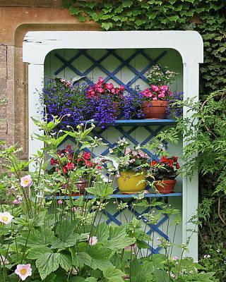 Cottage Garden Flower Pots Poster by Gill Billington