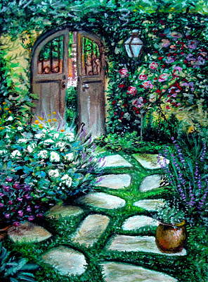 Poster featuring the pastel Cottage Gates by Elizabeth Robinette Tyndall