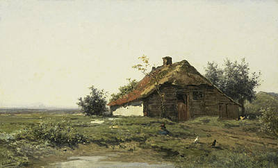 Cottage In An Open Field Poster