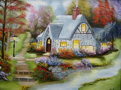 Cottage In Fall Poster