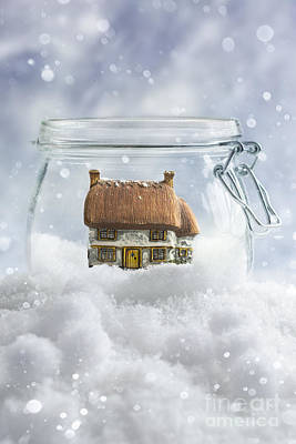 Cottage In Snow Poster by Amanda Elwell