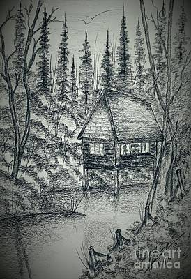 Cottage On Water Poster