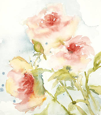 Poster featuring the painting Cottage Roses by Sandra Strohschein