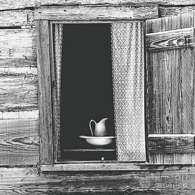 Cottage Window - Bw Poster