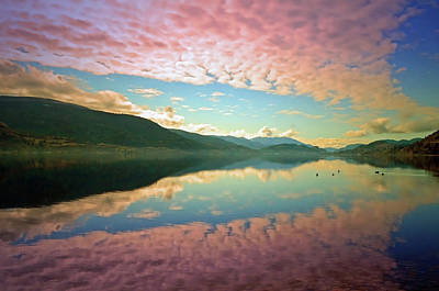 Poster featuring the photograph Cotton Candy Clouds At Skaha Lake by Tara Turner