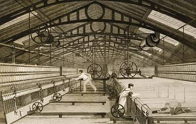 Cotton Factory Floor In 1830s Showing Poster