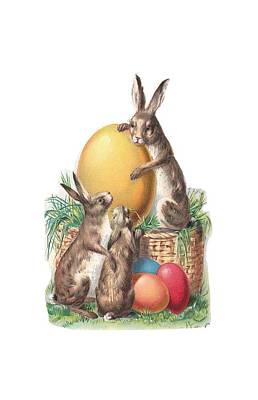 Poster featuring the digital art Cottontails And Eggs by Reinvintaged